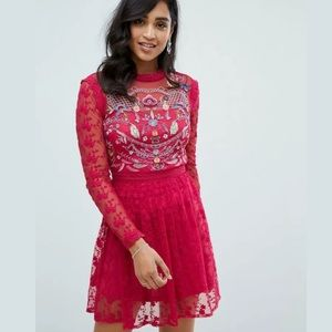 Frock & Frill Red Embroidered Lace Skater Dress
